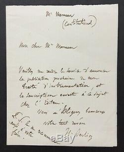 Hector BERLIOZ Lettre autographe signée Autograph letter signed -Traité Inst