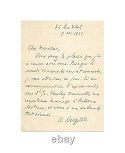Henri BERGSON / Lettre autographe signée / Rendez-vous / Philosophie / Années 20