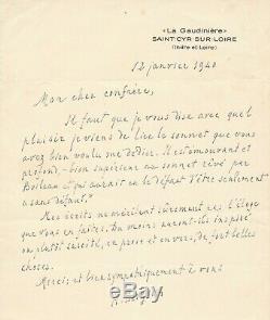 Henri BERGSON lettre autographe signée sonnet Boileau humour