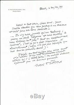 Henri DUTILLEUX lettre autographe signée il vient de Debussy