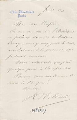 Henri D'ORLÉANS, duc d'Aumale Lettre autographe signée