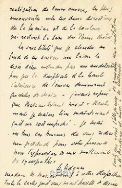Henri Le SIDANER / Lettre autographe signée sur la peinture