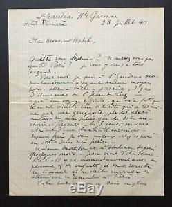 Henri MATISSE Belle lettre autographe signée de la débâcle et lexode 1940