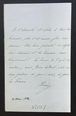 Henri V, Comte de Chambord superbe lettre autographe signée, adversité et exil
