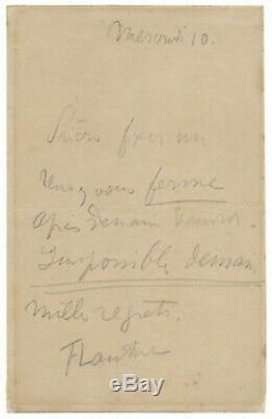 Henri de TOULOUSE-LAUTREC / Lettre autographe signée / Rendez-vous