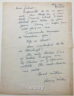 Henry MILLER Lettre autographe signée / Nexus