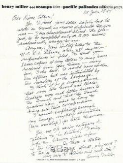 Henry MILLER Lettre autographe signée à Pierre CITRON hommage Giono Cendrars