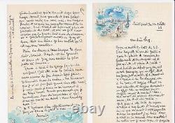 Hermine DAVID lettre autographe signée avec un dessin aquarellé Port Saint-Vaast