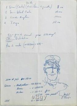 Hugo PRATT Lettre autographe signée avec Dessin original Corto MALTESE