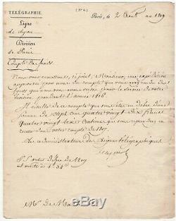 Ignace Chappe / Lettre Signée (1819) / Télégraphe / Ligne De Lyon /