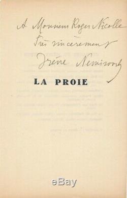 Irène NÉMIROVSKY (1903-1942) envoi autographe signé La Proie