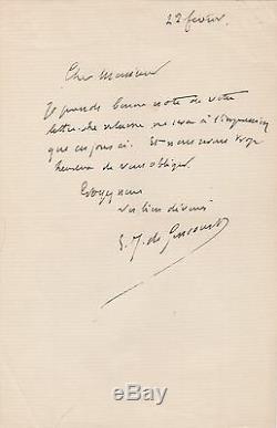 JULES DE GONCOURT Lettre autographe signée