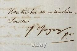 Jean Auguste Dominique INGRES Peintre Lettre signée Signed letter 1833