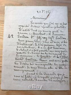 Jean-Baptiste Clément Lettre autographe à Maurice Lachâtre Communisme Commune