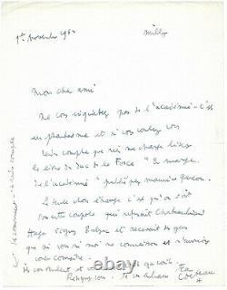Jean COCTEAU / Lettre autographe signée / Henry de Montherlant / Académie
