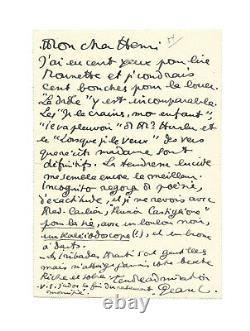 Jean COCTEAU / Lettre autographe signée de jeunesse / Roman / 1913 / Poésie