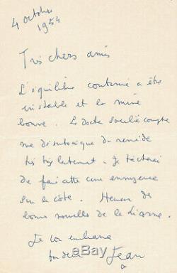 Jean COCTEAU lettre autographe signée 4 Octobre 1954 Epoux Rosen