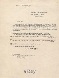 Jean Dubuffet / Lettre Signée (1947) / Dubuffet Commande De La Couleur