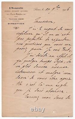 Jean JAURÈS Lettre signée Paris 20 novembre 1906 L'Humanité