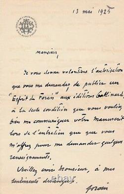 Jean-Louis Forain lettre autographe signée biographie Gallimard