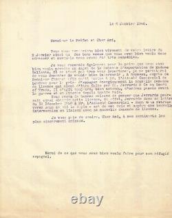 Jean MOULIN Lettre autographe signée à Maurice Bellonte. Janvier 1940