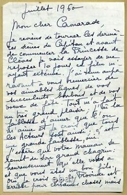 Jean Marais (1913-1998) Intéressante lettre autographe signée en 1960 2 pp