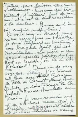 Jean Marais (1913-1998) Superbe lettre autographe signée en 1960 4 pages