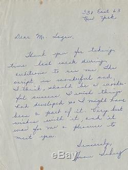 Jean SEBERG / Lettre autographe signée / 1958 / Seberg et le cinéma