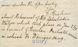 Johannes BRAHMS lettre autographe signée Janvier 1875 Libeslieder Walzer Breslau