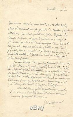 Joris Karl HUYSMANS Lettre autographe signée sur sa visite à Emile Zola