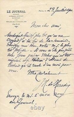 José-Maria de HEREDIA / Ensemble de deux lettres autographes signées. Juil. 1900