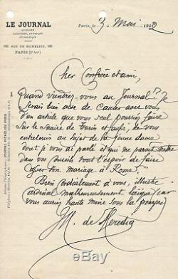 José-Maria de HEREDIA / Lettre autographe signée / Le suaire du Christ à Turin