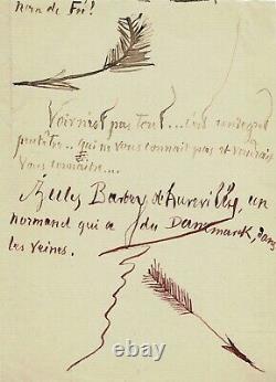 Jules BARBEY DAUREVILLY Lettre autographe signée avec dessins originaux