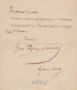 Jules BARBEY D'AUREVILLY Lettre autographe signée. Sur des travaux littéraires