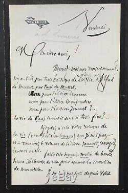 Jules BARBEY D'AUREVILLY Lettre autographe signée à éditeur Lemerre sur Musset