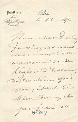 Jules GREVY Lettre autographe signée Légion d'honneur Avec dessin original