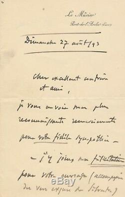 Jules Massenet autographe signée Armand Silvestre 1893 Morand Drames sacrés