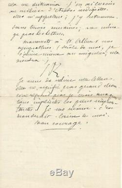 Jules RENARD Longue lettre autographe signée à sa soeur Amélie. 8 pages 1883