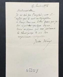 Jules VERNE Célèbre écrivain rare lettre autographe signée 1898