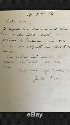 Jules verne lettre autographe signée