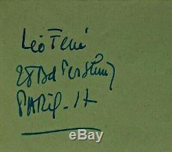 LÉO FERRÉ Lettre autographe signée du 8 mai 1958 Manuscrit dédicace