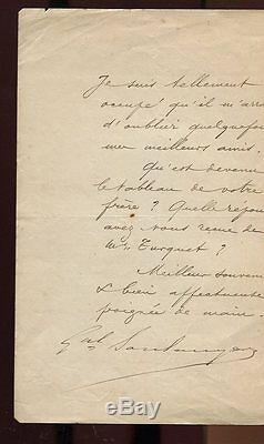 LETTRE AUTOGRAPHE SIGNEE par Général BOULANGER- 1886 au peintre Félix REGAMEY