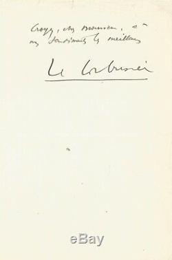 LE CORBUSIER / Lettre autographe signée à propos du Destin de Paris. 1940