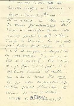 LF. CELINE Lettre autographe signée à JG. Daragnès. 5 pages. Céline désespéré