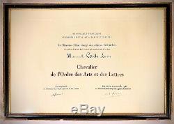 LOUISE CONTE Diplôme Chevalier des Arts et des Lettres signé ANDRÉ MALRAUX