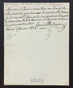 LOUIS-PHILIPPE Roi des Français Lettre autographe signée 1836