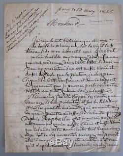 Larrey lettre autographe signée sur Girodet chirurgie Empire peinture 1825