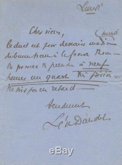 Léon DAUDET (1867-1942) Action française Lettre autographe signée duel demain