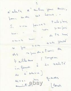 Leonor FINI et la vie de ses chats. 9 pages lettre autographe signée