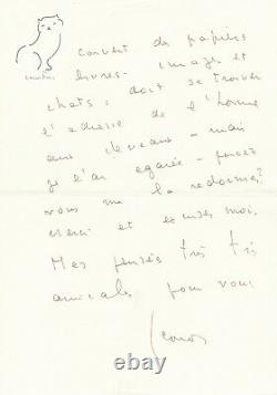 Léonor FINI lettre autographe signée un lit comme un radeau couvert de papiers